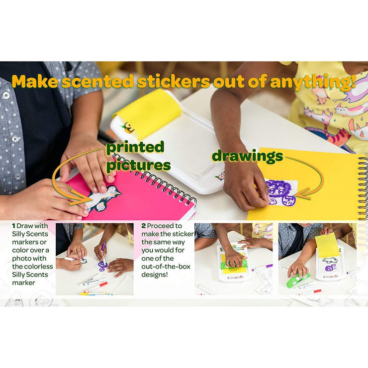 children making stickers out of printed images and drawings