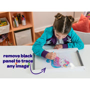 girl drawing a pony text reads remove black panel to trace any image