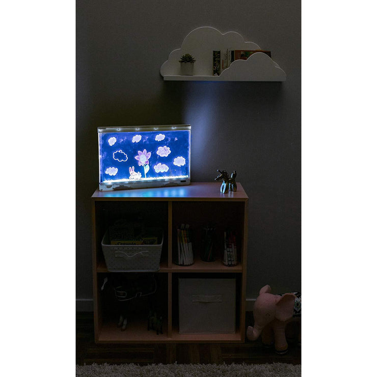 light board with a picture drawn being used as a night light