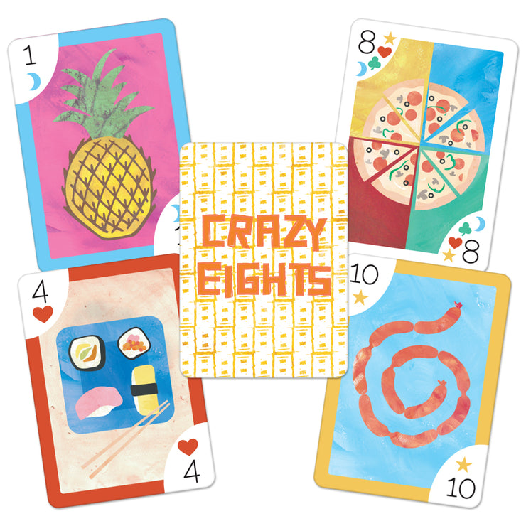 four crazy eight cards displaying a number and a corresponding food item