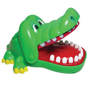 green crocodile with an open mouth showing white teeth