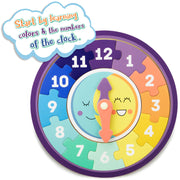 stem toys clock text reads start learning with colors and numbers