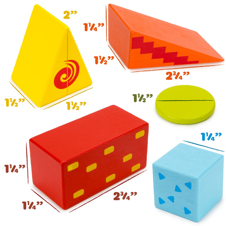 image of traditional building block shapes and their dimensions