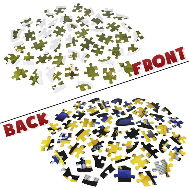front and back pieces of the puzzle displayed - showing two different puzzles