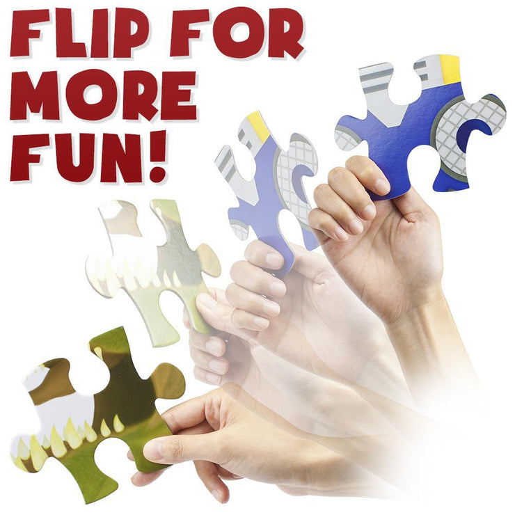 hand showing both sides of the puzzle piece text reads flip for more fun