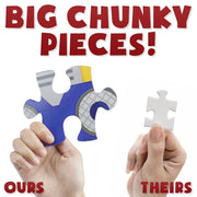 two hands with two different sized puzzle pieces text reads big chunky pieces