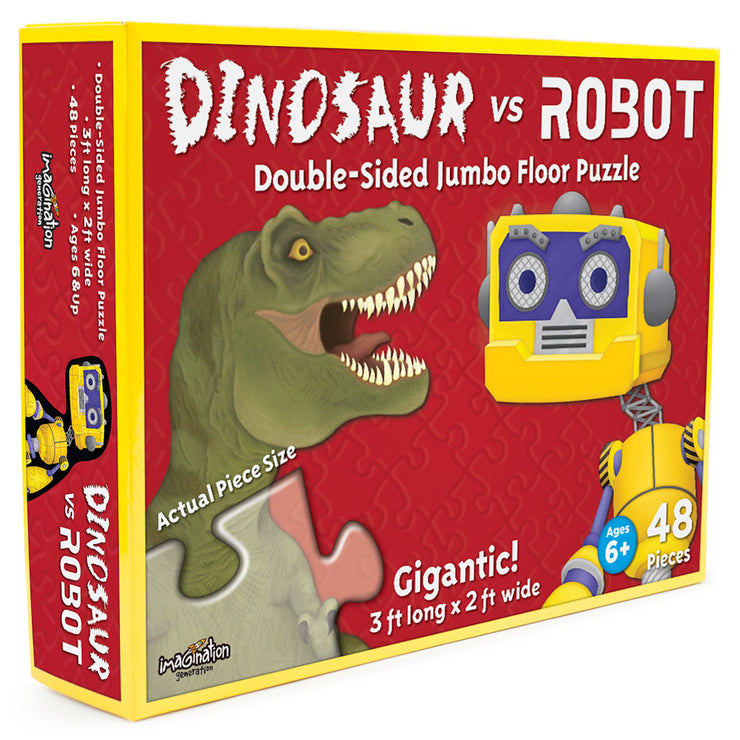 dinosaur vs robot floor puzzle box packaging - stem toys