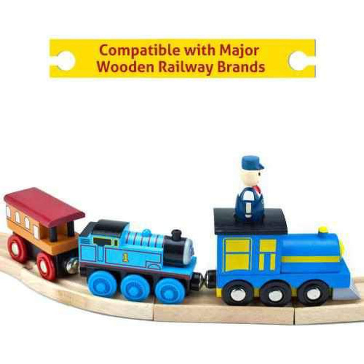 train placed on a train track with signage reading compatible with major wooden railway brands