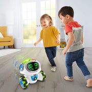 boy and a girl running around with Fisher-Price Think & Learn Teach 'n Tag Movi