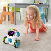 young girl in her room crawling around after movi the robot