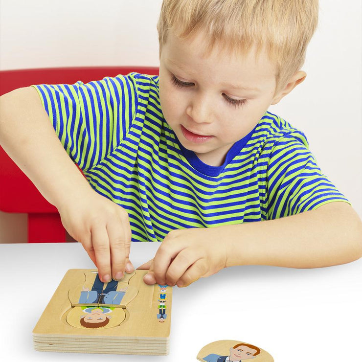little boy in a striped shirt building gregory grows up layered jigsaw puzzle