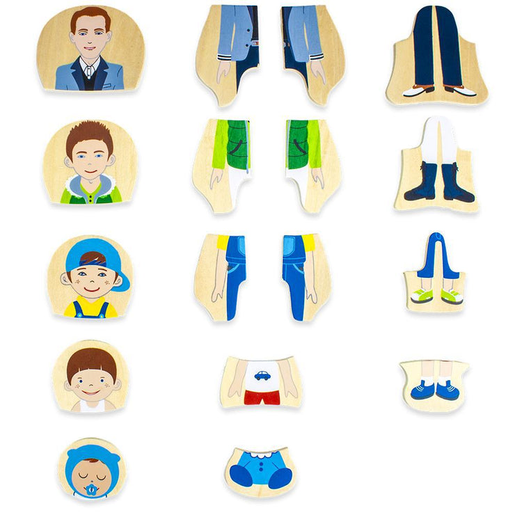 puzzle pieces showing baby toddler boy teen and man