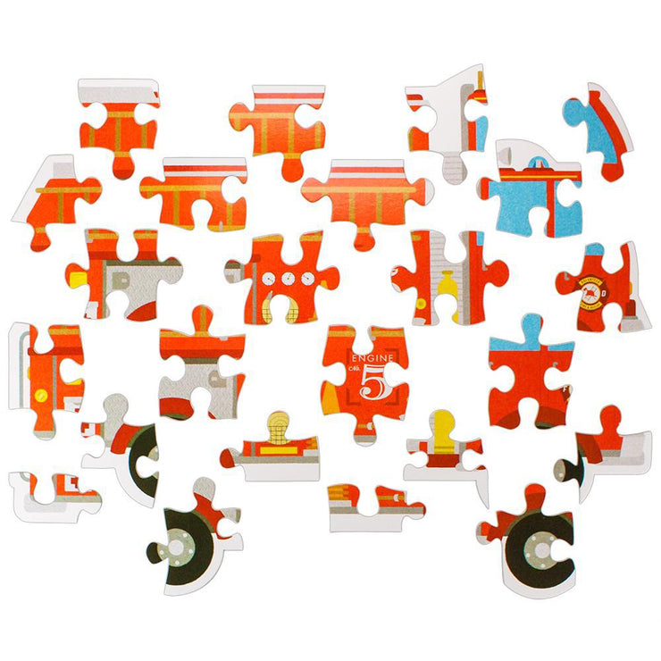 all twenty four fire engine floor puzzle pieces displayed separately