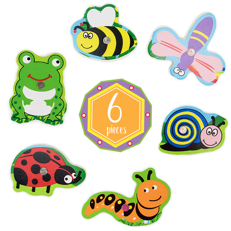 six pieces including a frog bee dragonfly snail ladybug and caterpillar