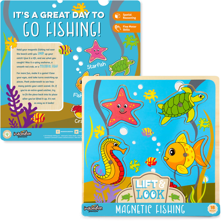 front and reverse side of the Lift & Look Magnetic Fishing packaging