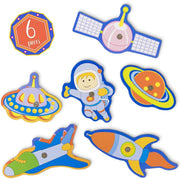 six piece set with a planet astronaut satellite rocket shuttle and alien spaceship