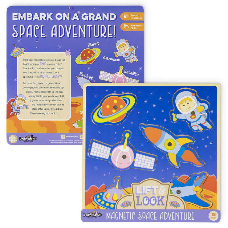 front and reverse view of the Lift & Look Magnetic Space Adventure packaging