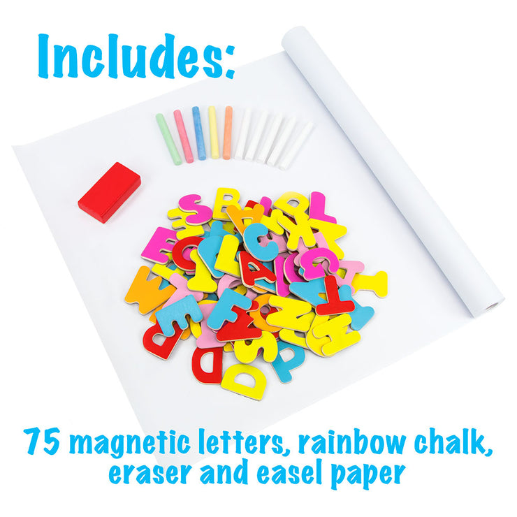 75 magnetic letters rainbow chalk eraser and easel paper displayed