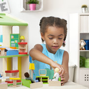 girl in blue playing with Luxurious Living Room Set - Wooden Wonders