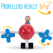 Make & Break Magnetic Airplane with text saying propellors really spin