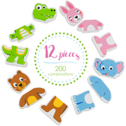 Mix-n-Match Magnetic Animals with text saying 12 pieces in center of circle
