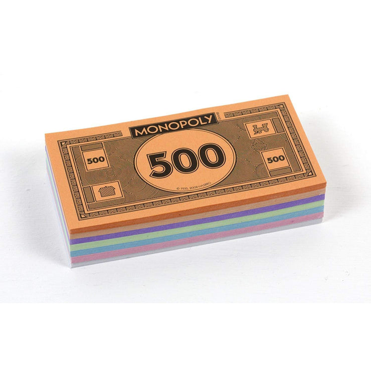 front view of Monopoly Money on white backing