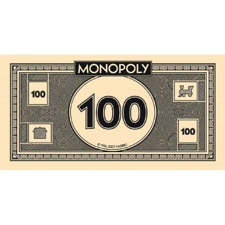 top view of the 100 dollar note from the Monopoly Money Refill Pack