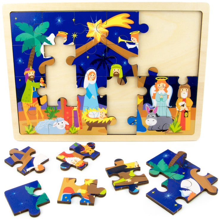 Nativity Puzzle with some pieces out on the table