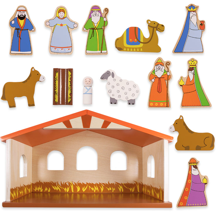 view of the characters from the wooden Nativity Set For Kids