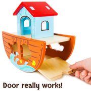 hand playing with the Noah's Ark Playset - Wooden