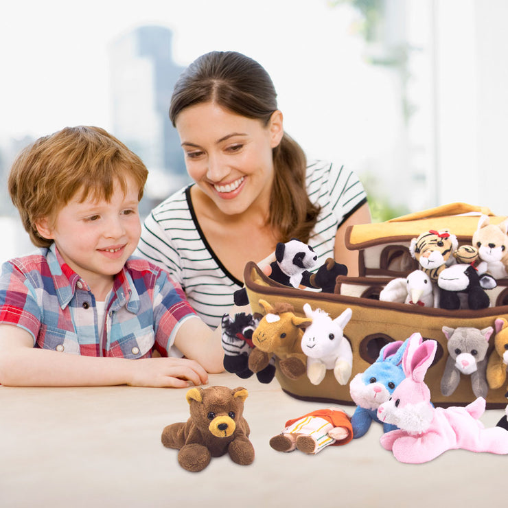mom and son playing with Noah's Ark Plush Play Set