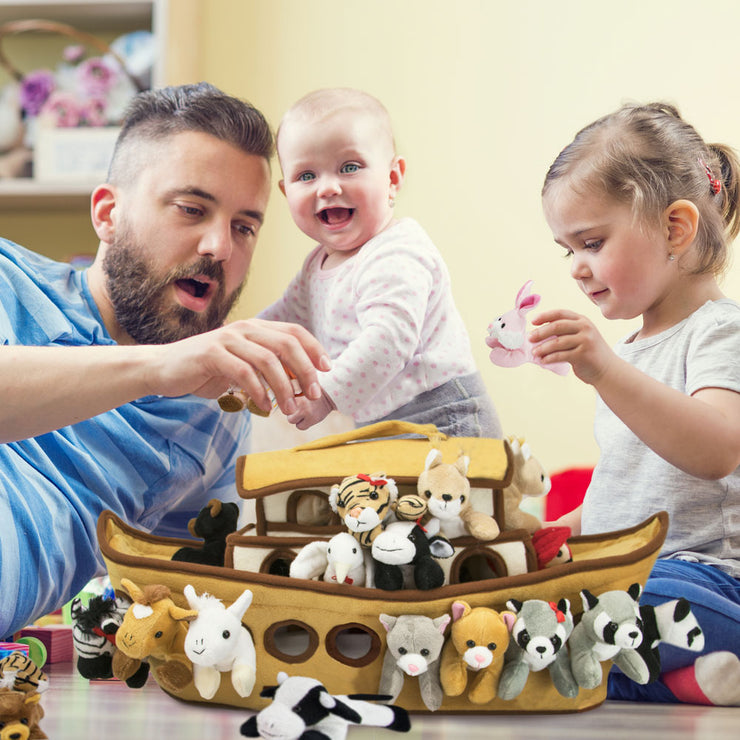 father and kids playing with Noah's Ark Plush Play Set
