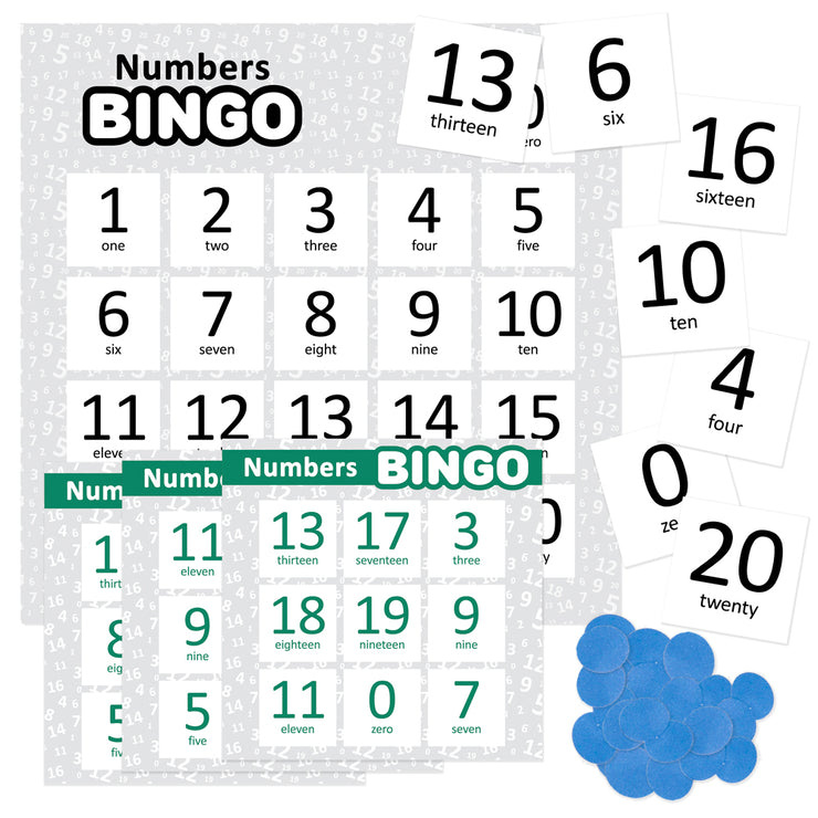 score cards for the Numbers Bingo game