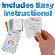 hand holding the instruction manual from the Old Maid Illustrated Card Game