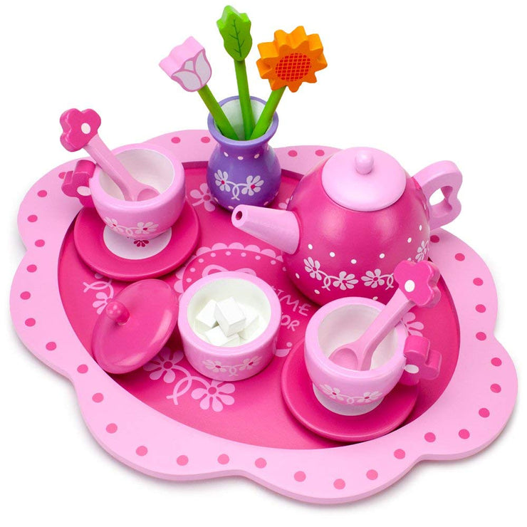 top view of the Pink Blossoms Tea Set for Two