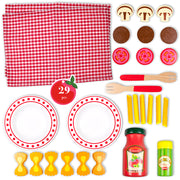 image of all twenty nine pieces in wood eats set for creative play