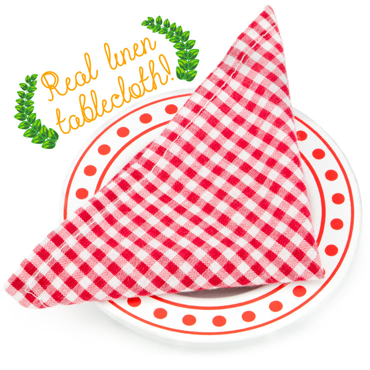 wood eats plate with a real linen tablecloth