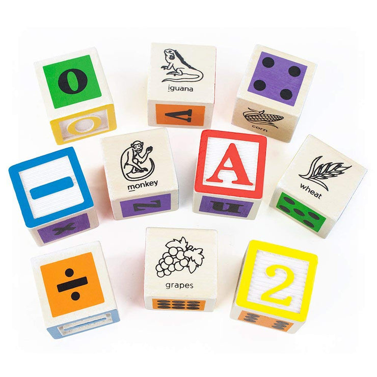 close up view of some Professor Poplar's Ultimate Alphabet Blocks