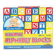 box packaging for Professor Poplar's Ultimate Alphabet Blocks