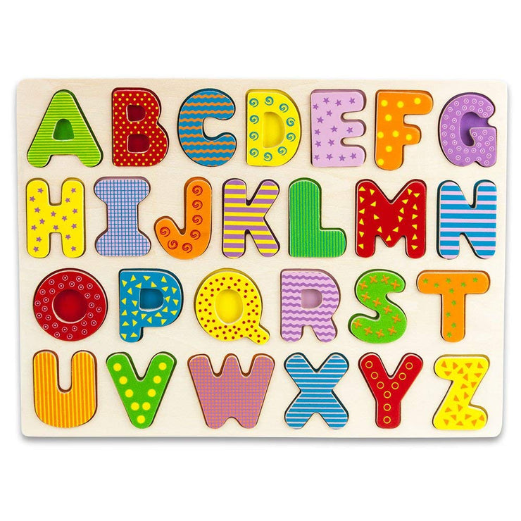 top view of Wooden Alphabet Puzzle Board