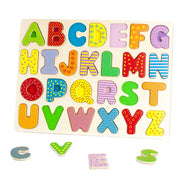 diagonal view of Wooden Alphabet Puzzle Board with 3 pieces out