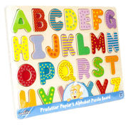 Wooden Alphabet Puzzle Board in plastic wrapping
