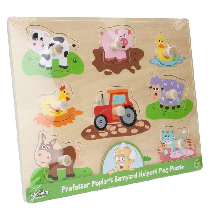 plastic wripping for Professor Poplar's Wooden Barnyard Peg Puzzle