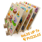 four puzzles stored in the Professor Poplar's Wooden Puzzle Display Stand