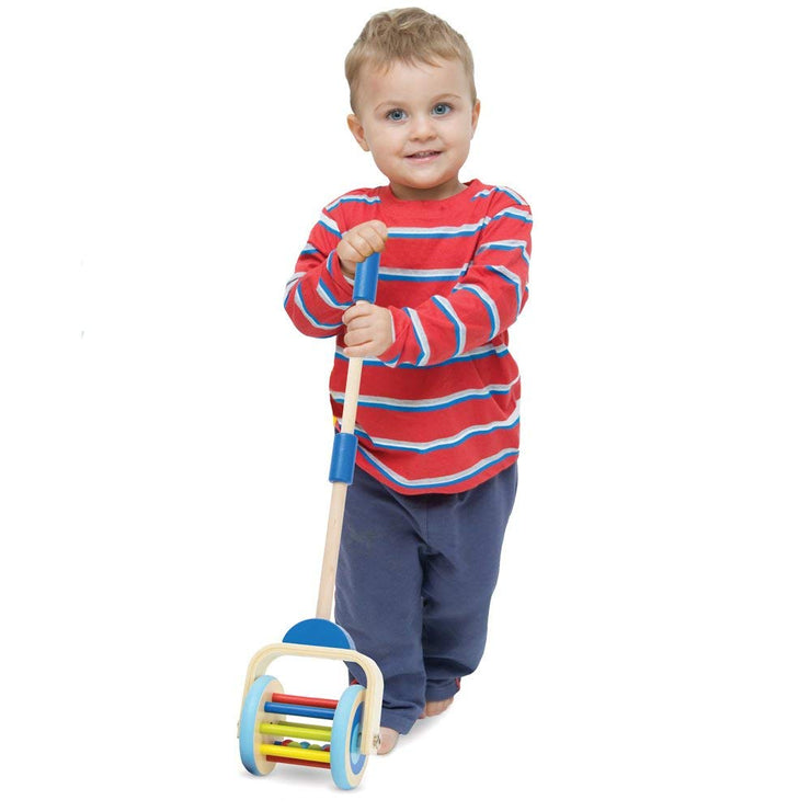 boy in red holding Push-n-Pop Walking Toy imagination generation