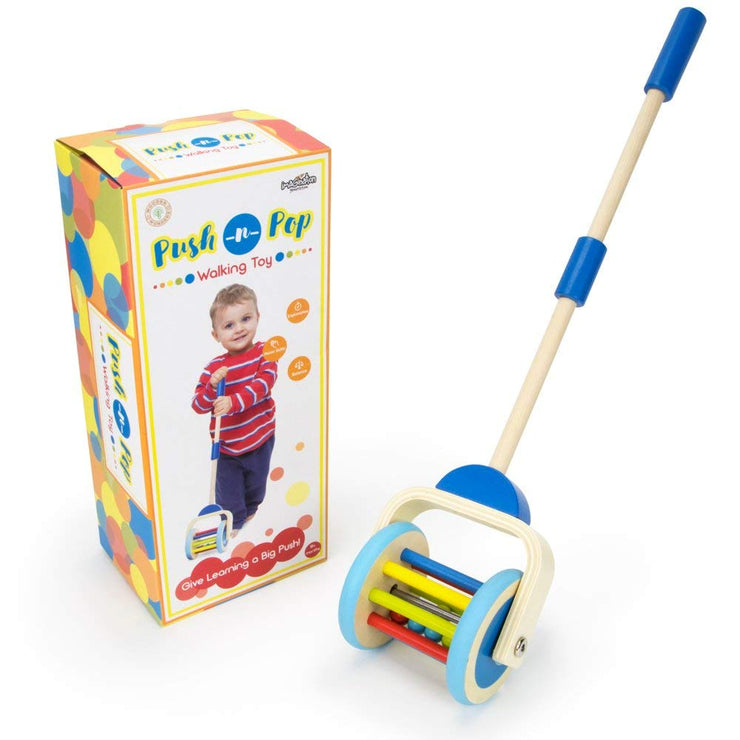Push-n-Pop Walking Toy next to box packaging