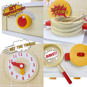 children can stirr bake set a timer and the temperature