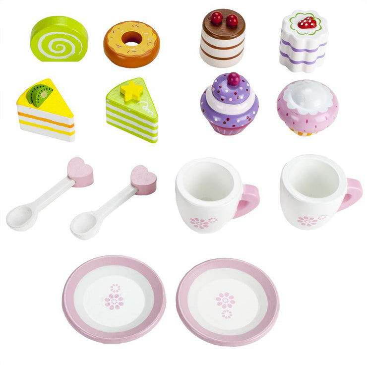 image of all pieces included in the wood eats tea time pastry tower