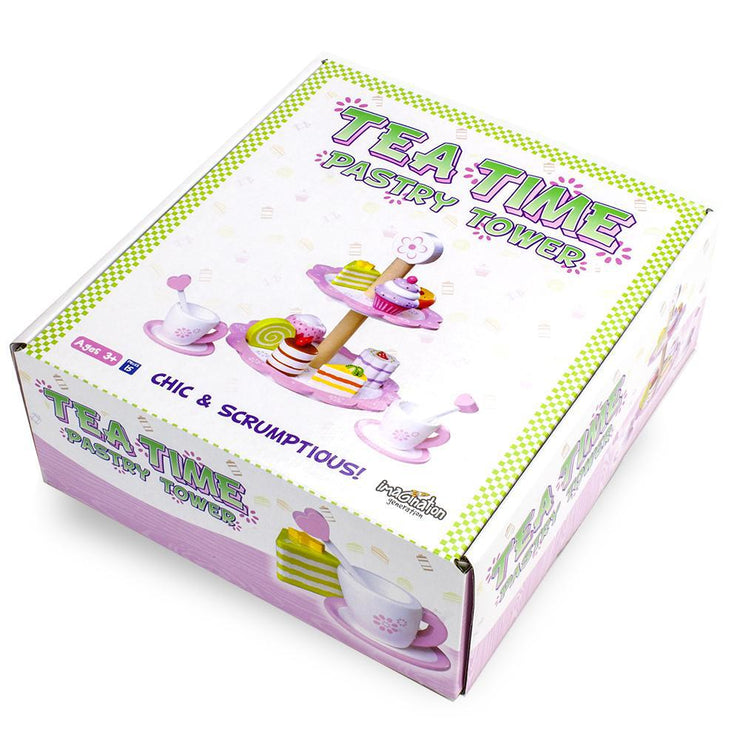 wood eats tea time pastry tower box packaging