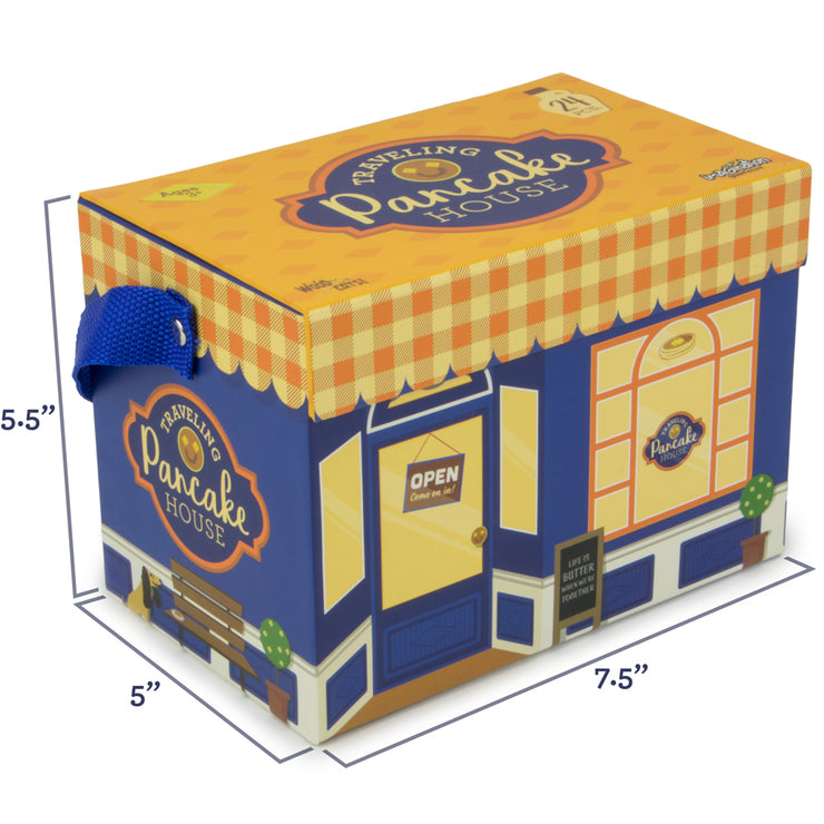 wood eats box packaging of traveling pancake house with dimensions